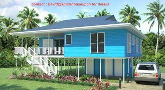 China Bungalow de dois andares à prova de fogo da praia da casa pré-fabricada, bungalows home azuis da praia fornecedor