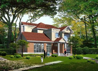 China Casa de campo clara pré-fabricada da construção de aço do calibre, casas pré-fabricadas de aço fornecedor
